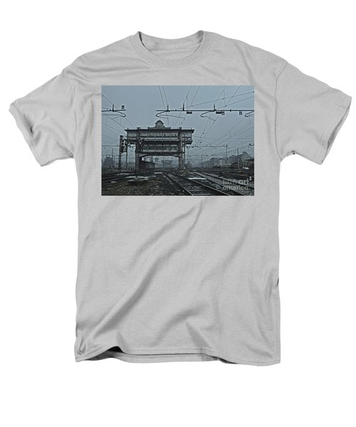 Men's T-Shirt  (Regular Fit) featuring the photograph Milan Central Station Italy In The Fog by Andy Prendy