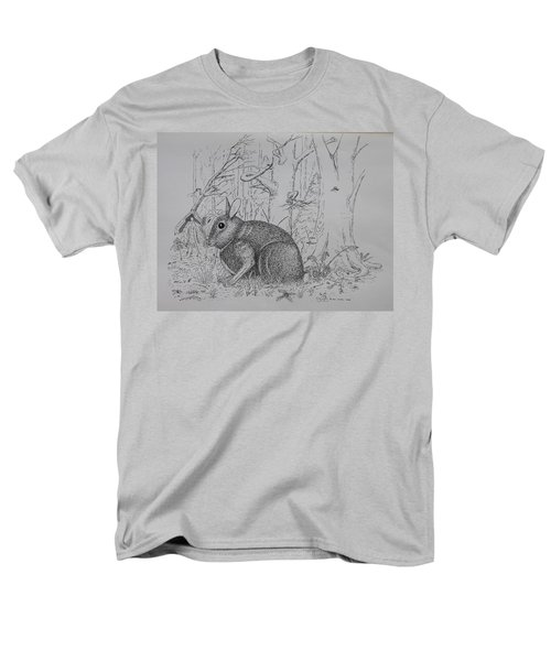 Men's T-Shirt  (Regular Fit) featuring the drawing Rabbit In Woodland by Daniel Reed