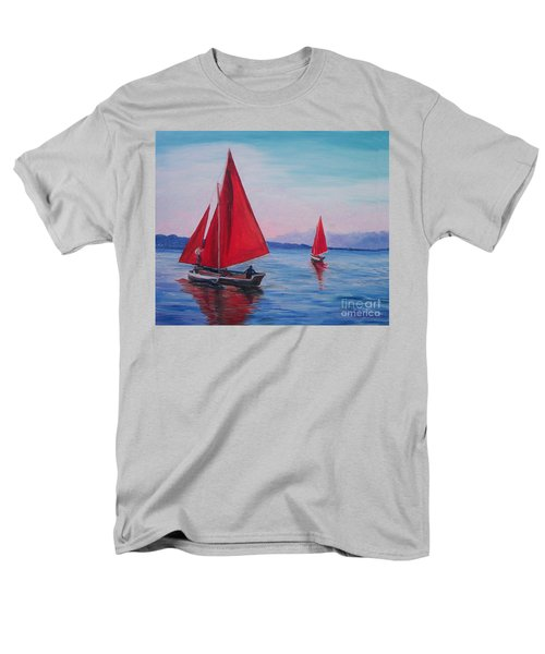Men's T-Shirt  (Regular Fit) featuring the painting Red Sails On Irish Coast by Julie Brugh Riffey