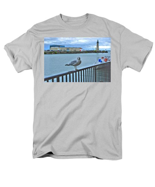 Men's T-Shirt  (Regular Fit) featuring the photograph Seagull At Lighthouse by Michael Frank Jr