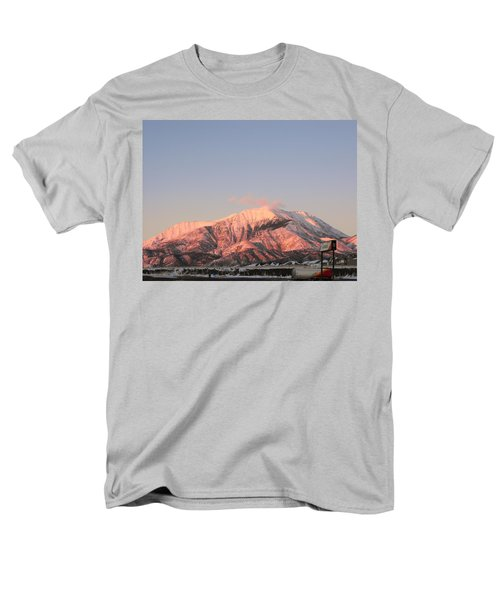 Snowy Mountain At Sunset Men's T-Shirt  (Regular Fit) by Adam Cornelison