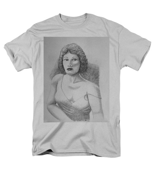 Men's T-Shirt  (Regular Fit) featuring the drawing Woman With Strap Off Shoulder by Daniel Reed