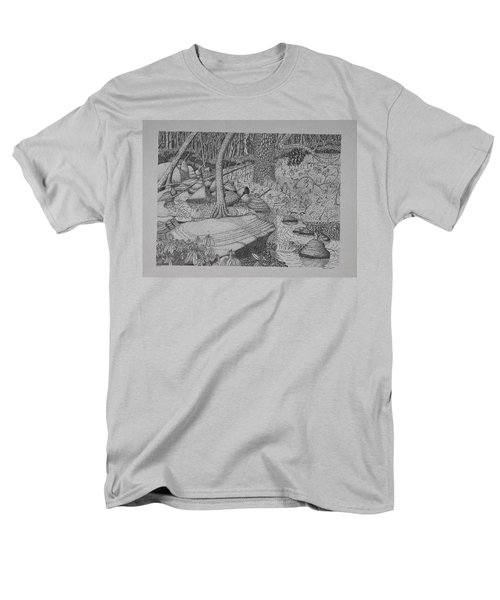 Men's T-Shirt  (Regular Fit) featuring the drawing Woodland Stream by Daniel Reed