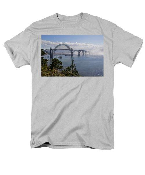 Yaquina Bay Bridge Men's T-Shirt  (Regular Fit) by Mick Anderson