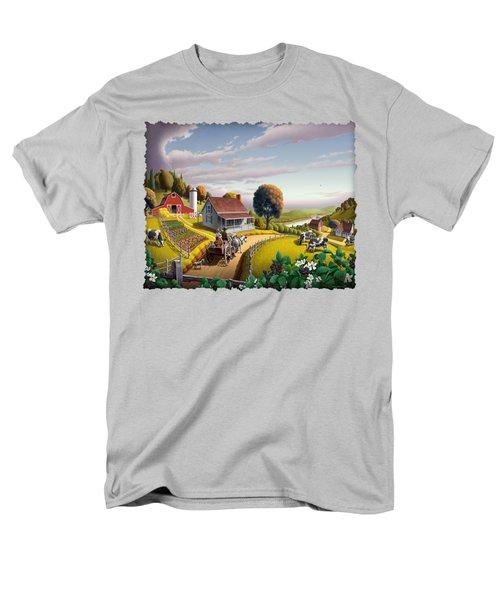 Appalachian Blackberry Patch Rustic Country Farm Folk Art Landscape - Rural Americana - Peaceful Men's T-Shirt  (Regular Fit) by Walt Curlee