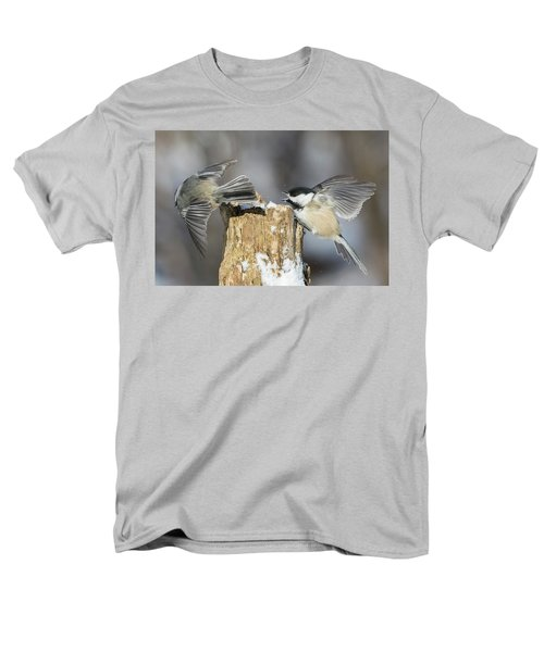 Men's T-Shirt  (Regular Fit) featuring the photograph Black-capped Chickadee In Winter by Mircea Costina Photography