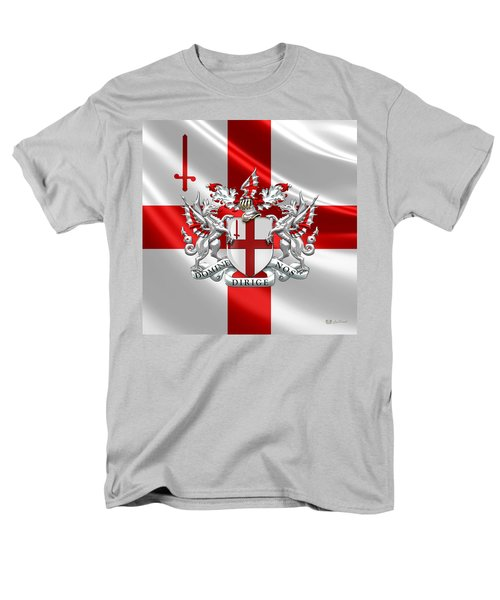 City Of London - Coat Of Arms Over Flag  Men's T-Shirt  (Regular Fit) by Serge Averbukh