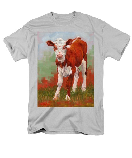 Men's T-Shirt  (Regular Fit) featuring the painting Colorful Calf by Margaret Stockdale