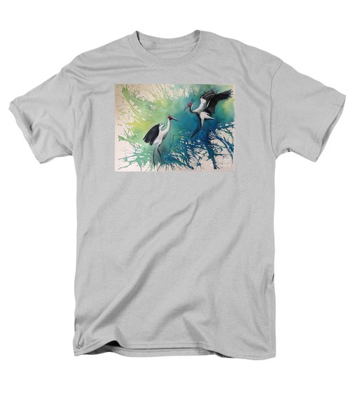 Men's T-Shirt  (Regular Fit) featuring the painting Dance Of The Brolgas - Original Sold by Therese Alcorn