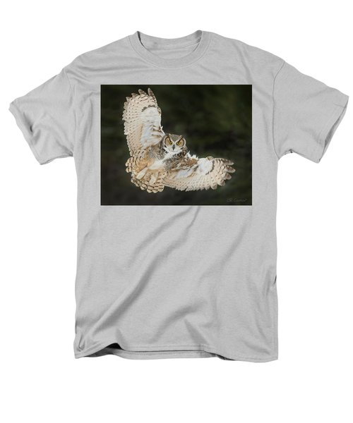 Great Horned Owl Wingspread Men's T-Shirt  (Regular Fit) by CR Courson