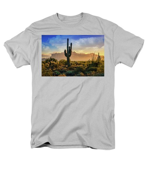 Men's T-Shirt  (Regular Fit) featuring the photograph Saguaro Sunrise In The Superstitions  by Saija Lehtonen