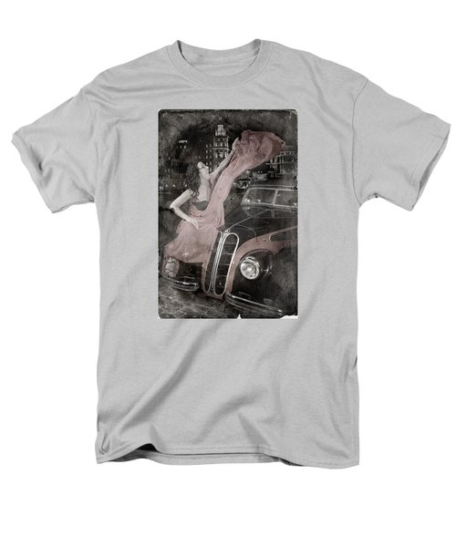 Men's T-Shirt  (Regular Fit) featuring the photograph The Girl On The Background Of Vintage Car. by Andrey  Godyaykin
