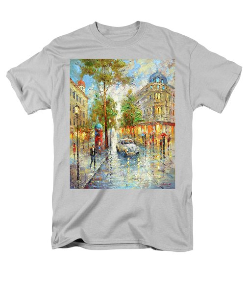 Men's T-Shirt  (Regular Fit) featuring the painting White Taxi by Dmitry Spiros