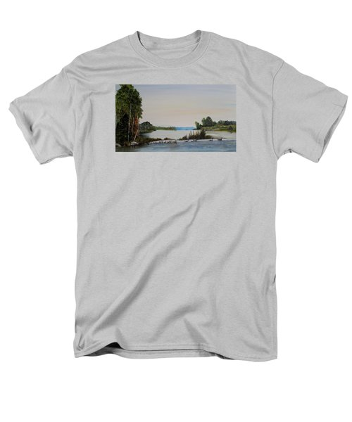 Men's T-Shirt  (Regular Fit) featuring the painting 19 Geese by Marilyn  McNish