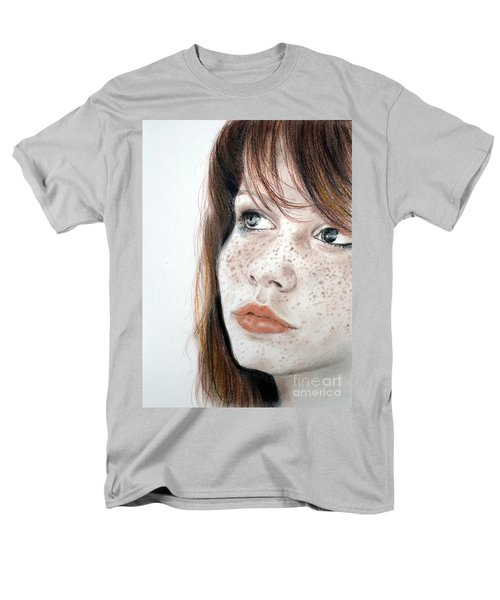 Men's T-Shirt  (Regular Fit) featuring the pastel Red Hair And Freckled Beauty by Jim Fitzpatrick