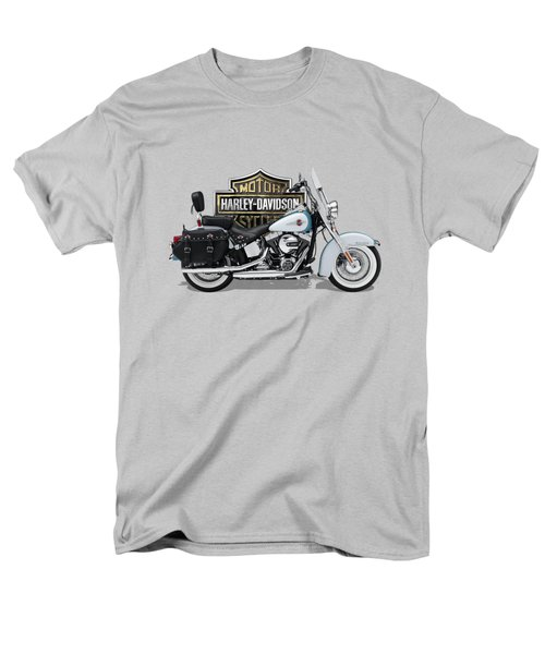 Men's T-Shirt  (Regular Fit) featuring the digital art 2017 Harley-davidson Heritage Softail Classic  Motorcycle With 3d Badge Over Vintage Background  by Serge Averbukh