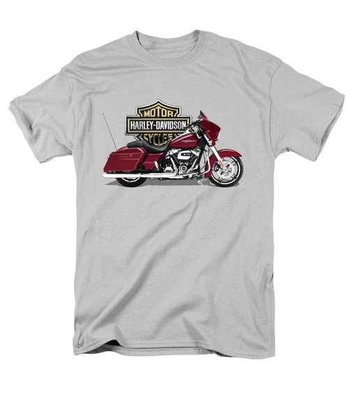 Men's T-Shirt  (Regular Fit) featuring the digital art 2017 Harley-davidson Street Glide Special Motorcycle With 3d Badge Over Vintage Background  by Serge Averbukh