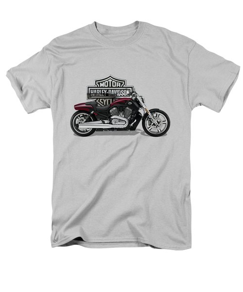 Men's T-Shirt  (Regular Fit) featuring the digital art 2017 Harley-davidson V-rod Muscle Motorcycle With 3d Badge Over Vintage Background  by Serge Averbukh
