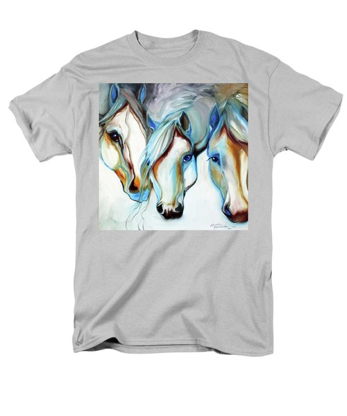 3 Wild Horses In Abstract Men's T-Shirt  (Regular Fit) by Marcia Baldwin