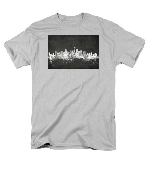Seattle Washington Skyline Men's T-Shirt  (Regular Fit) by Michael Tompsett