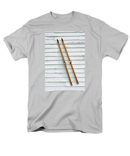 Men's T-Shirt  (Regular Fit) featuring the photograph Antique Skis On The Wall by Gary Slawsky