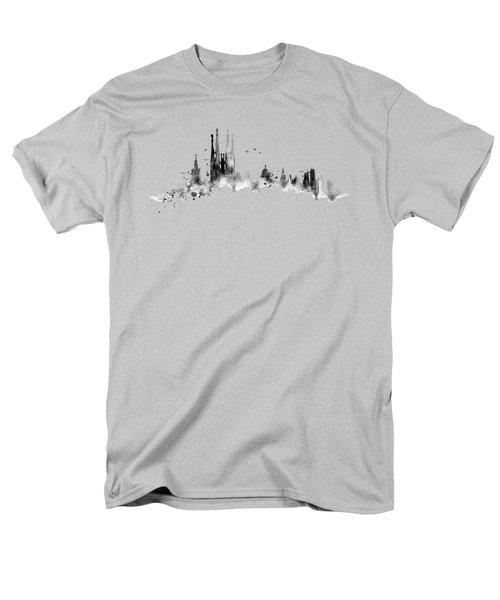 White Barcelona Skyline Men's T-Shirt  (Regular Fit) by Aloke Creative Store