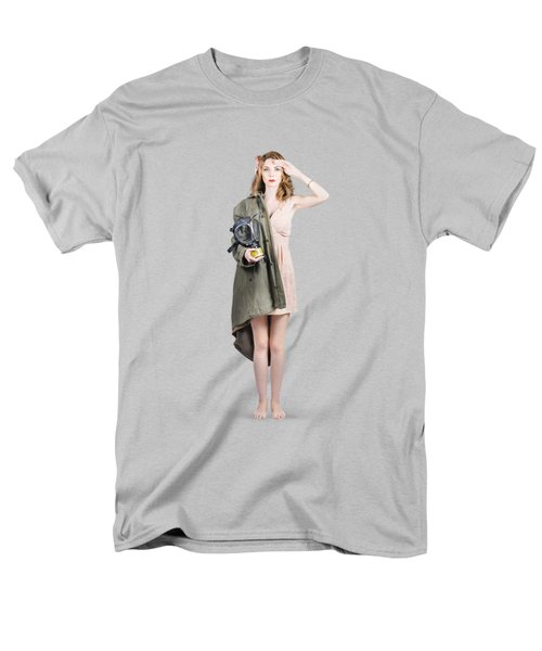 Men's T-Shirt  (Regular Fit) featuring the photograph Attractive Young Australian Army Pinup Woman by Jorgo Photography - Wall Art Gallery