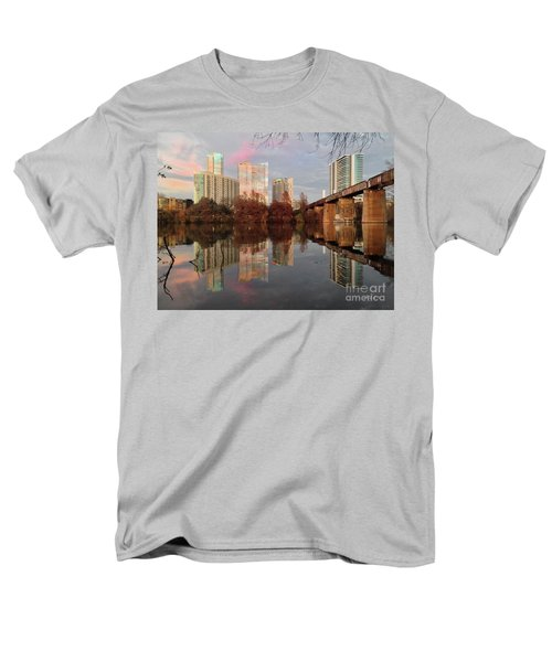 Austin Hike And Bike Trail - Train Trestle 1 Sunset Triptych Left Men's T-Shirt  (Regular Fit) by Felipe Adan Lerma