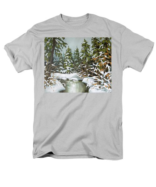 Men's T-Shirt  (Regular Fit) featuring the painting Behind The River Bend by Inese Poga