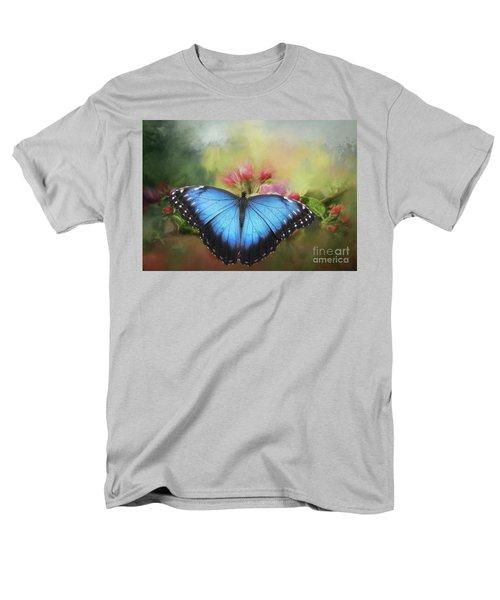 Blue Morpho On A Blossom Men's T-Shirt  (Regular Fit) by Eva Lechner