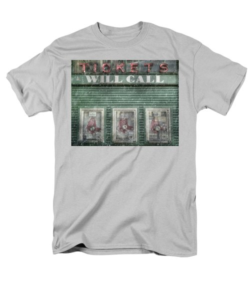 Men's T-Shirt  (Regular Fit) featuring the photograph Boston Red Sox Fenway Park Ticket Booth In Winter by Joann Vitali