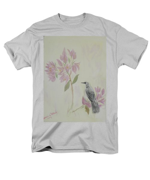 Men's T-Shirt  (Regular Fit) featuring the painting Bougainvillea And Mockingbird by Donna Walsh