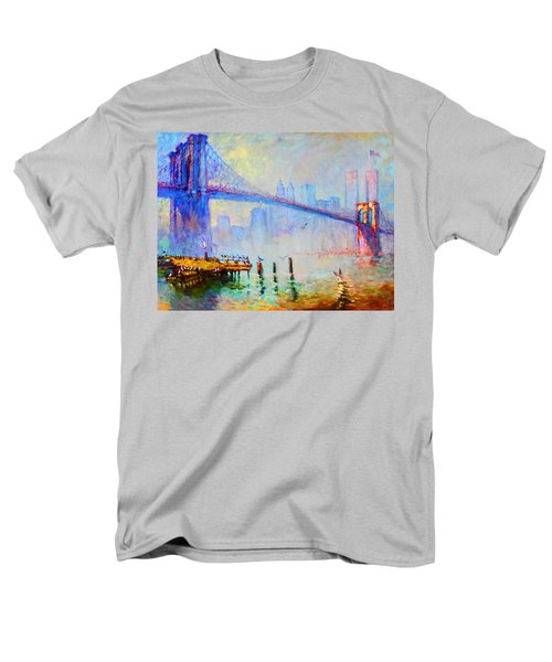 Brooklyn Bridge In A Foggy Morning Men's T-Shirt  (Regular Fit) by Ylli Haruni
