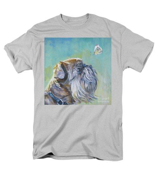 Brussels Griffon With Butterfly Men's T-Shirt  (Regular Fit) by Lee Ann Shepard