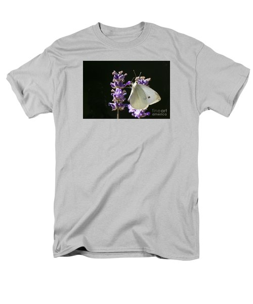 Men's T-Shirt  (Regular Fit) featuring the photograph Cabbage White Butterfly On Lavender by Inge Riis McDonald