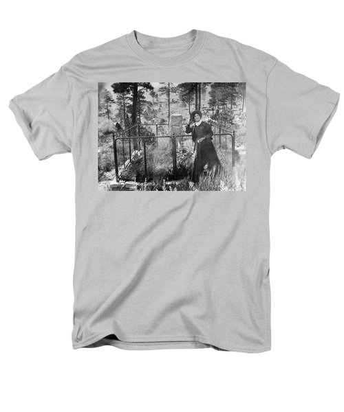 Men's T-Shirt  (Regular Fit) featuring the photograph Calamity Jane At Wild Bill Hickok's Grave 1903 by Daniel Hagerman