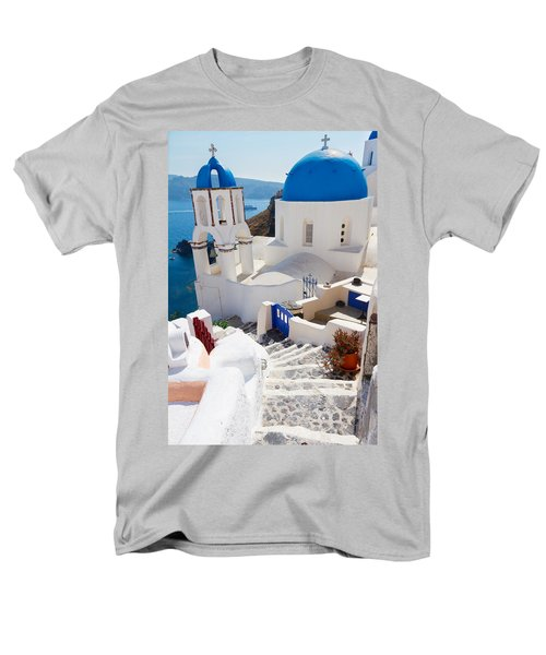 Caldera With Stairs And Church At Santorini Men's T-Shirt  (Regular Fit) by Anastasy Yarmolovich