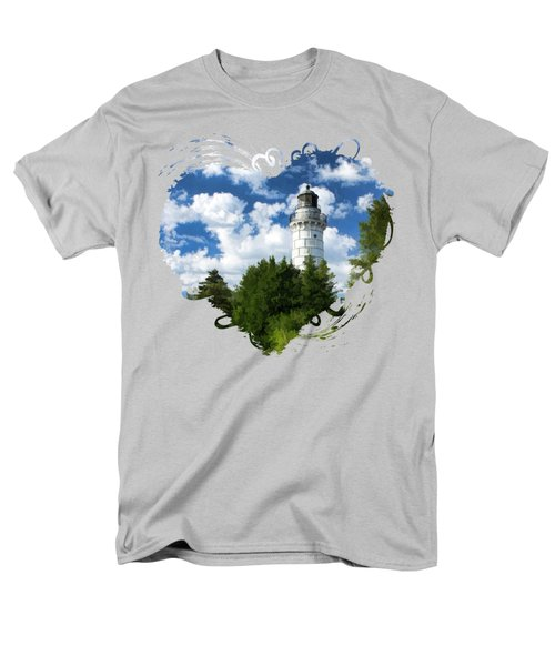 Cana Island Lighthouse Cloudscape In Door County Men's T-Shirt  (Regular Fit) by Christopher Arndt