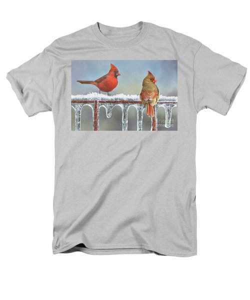 Cardinals And Icicles Men's T-Shirt  (Regular Fit) by Janette Boyd