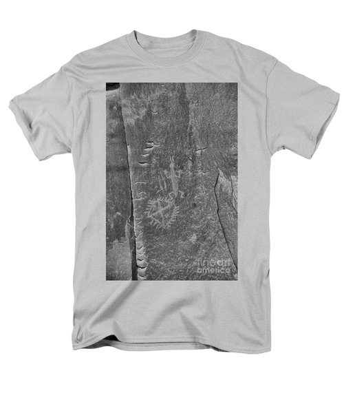 Men's T-Shirt  (Regular Fit) featuring the photograph Chaco Petroglyph Figures Black And White by Adam Jewell