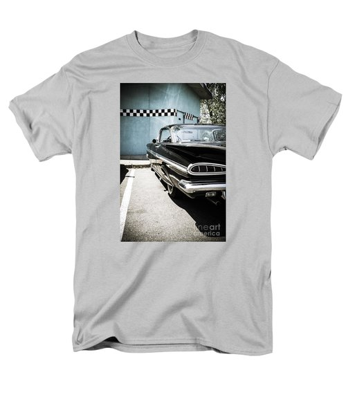 Chevrolet Impala In Front Of American Diner Men's T-Shirt  (Regular Fit) by Perry Van Munster