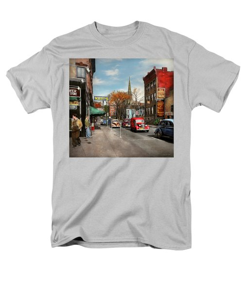 Men's T-Shirt  (Regular Fit) featuring the photograph City - Amsterdam Ny - Downtown Amsterdam 1941 by Mike Savad