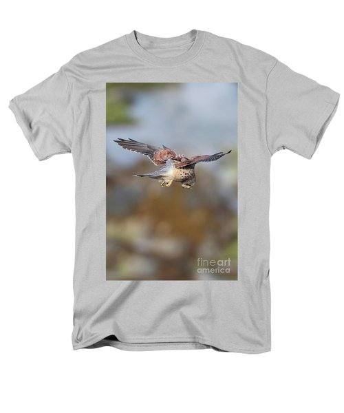 Men's T-Shirt  (Regular Fit) featuring the photograph Cornish Kestrel Hunting 2 by Nicholas Burningham