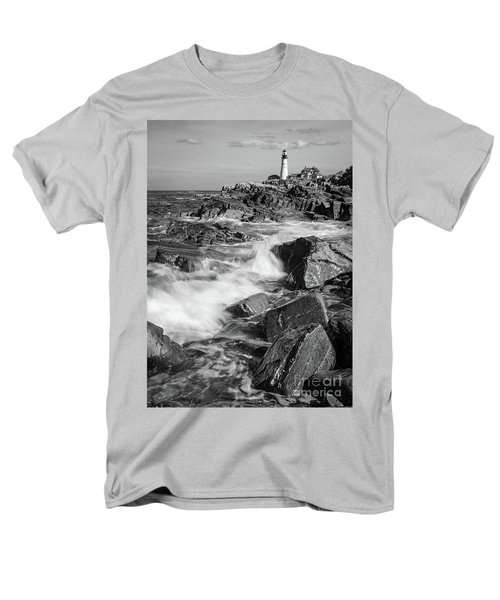 Crashing Waves, Portland Head Light, Cape Elizabeth, Maine  -5605 Men's T-Shirt  (Regular Fit)