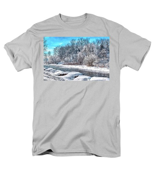 Men's T-Shirt  (Regular Fit) featuring the digital art Credit River At Winter by Kai Saarto