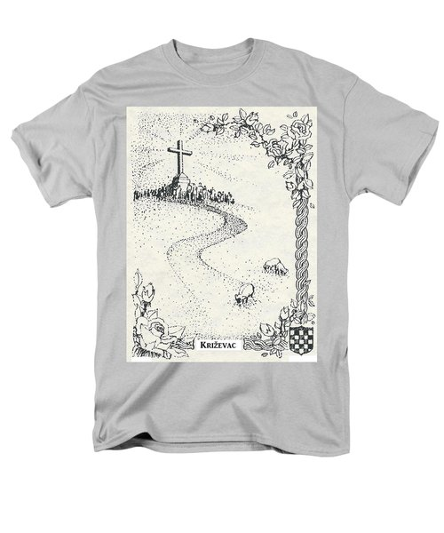 Men's T-Shirt  (Regular Fit) featuring the drawing Cross Mt, Medjugorje  by Christina Verdgeline