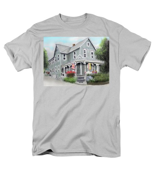 Men's T-Shirt  (Regular Fit) featuring the drawing Cup A Joes Coffee Shop by Albert Puskaric