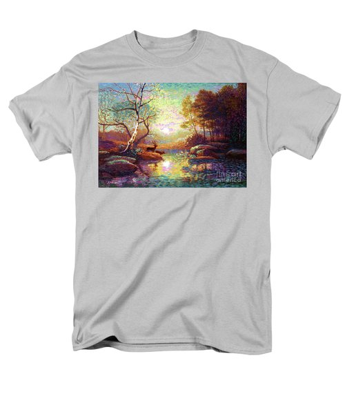 Men's T-Shirt  (Regular Fit) featuring the painting Deer And Dancing Shadows by Jane Small