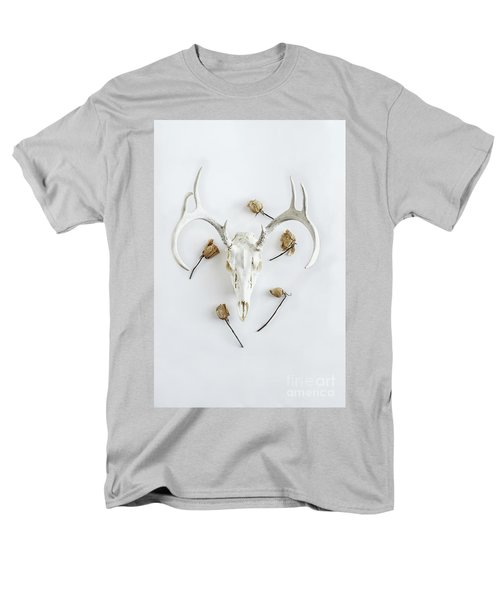 Men's T-Shirt  (Regular Fit) featuring the photograph Deer Skull With Antlers And Roses by Stephanie Frey