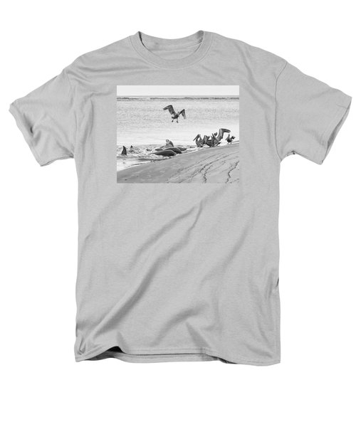 Men's T-Shirt  (Regular Fit) featuring the photograph Dolphin And Pelican Party by Patricia Schaefer